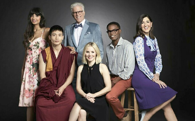(From Left to Right)Back: Tahani (Jameela Jamil), Michael (Ted Danson), Chidi (William Jackson Harper), Janet (D'Arcy Carden). Front: Jason (Manny Jacinto), Eleanor (Kristen Bell).