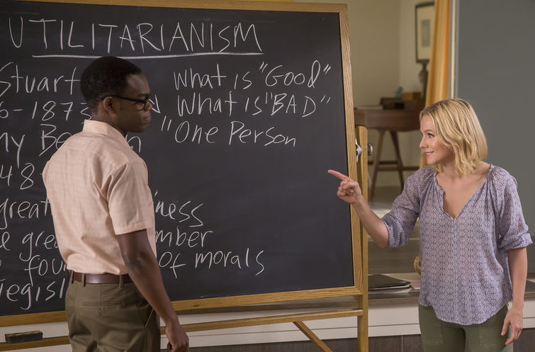 Left: Chidi (William Jackson Harper) Right: Eleanor (Kristen Bell)