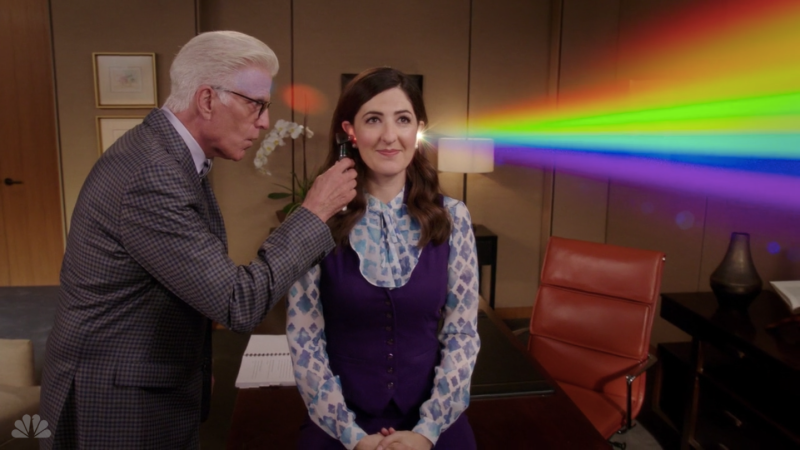 Left: Michael (Ted Danson) Right: Janet (D'Arcy Carden)