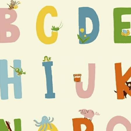 """Kinder Alphabet in White by Heather Ross 42"""" - $9 yard"""