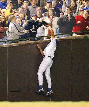 Steve Bartman catching the foul ball from Moises Alou. Cubs lost the series 4-3