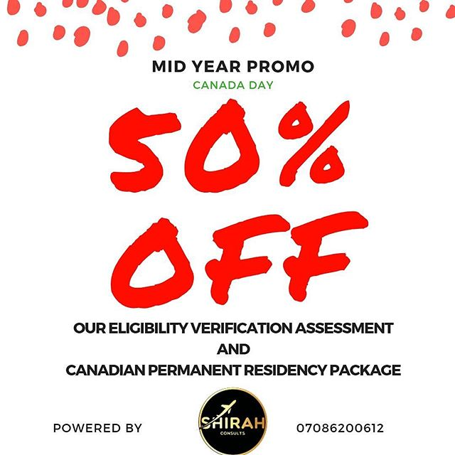 @shirahconsults present to you our MID YEAR PROMO for 2019 Celebrate CANADA Day with our amazing deal.  In honour of Canada Day, Shirah is very excited to be bringing to you our BIGGEST AND BEST PROMO YET!!!! Are you determined to migrate to Canada in 2019 but are confused about the process involved? Have you been trying to migrate yet your efforts have been unsuccessful ? Or perhaps you are ready but feel you are unable to afford it? Guess What? This Offer is undoubtedly for you ...YES! YOU!!! Be among the first 50 persons to take advantage of this amazing Promo and see your dream become a reality right before your eyes. Shirah has made it easier than ever to migrate!  Do not DELAY!! Contact us TODAY!  Offer runs till July 31st, 2019