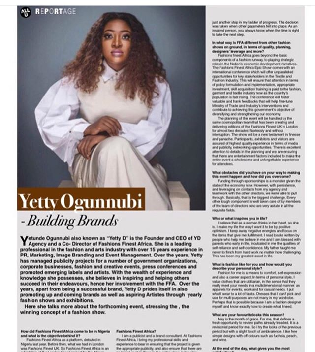 Founder and CEO @yettyd of YD Agency @ydagency constantly work for personalities and brands pushing them forward.  She has been featured in The Nations Newspaper, Allure, Suns Newspaper; also appeared on @r2tv @ebonylifetv, Arise News Morning Show @arisenewsofficial, Sideview Magazine, Tyron Style Magazine, and many others.  Every brand needs a PR firm who will take charge and place their company in the right places and with the right people.  #ydagency #yettyd #pr #branding #marketing #communications #influence #lifestyle #fashion #thereturnees  #networking