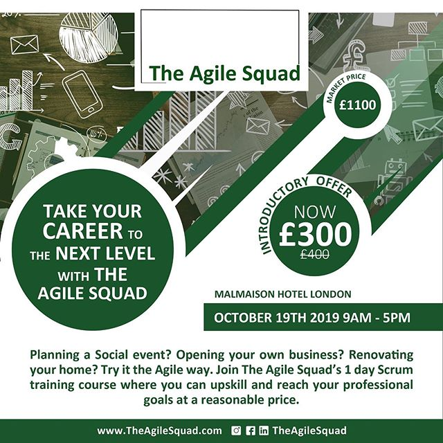 Are you looking to increase your earning potential and employability? Get trained by @theagilesquad on October 19th from 9am to 5pm to level up!  Book The Agile Squad's 1 day Agile Scrum training delivered by Agile trained professionals with excellent track records.  Coupled with an amazing learning experience suited to all learning abilities, you will receive coveted career advice and The Agile Squad CV assistance is available to you.  For more information and to secure your space, please visit  www.theagilesquad.com  #TheAgileSquad #Training #Career #Growth #TheReturnees