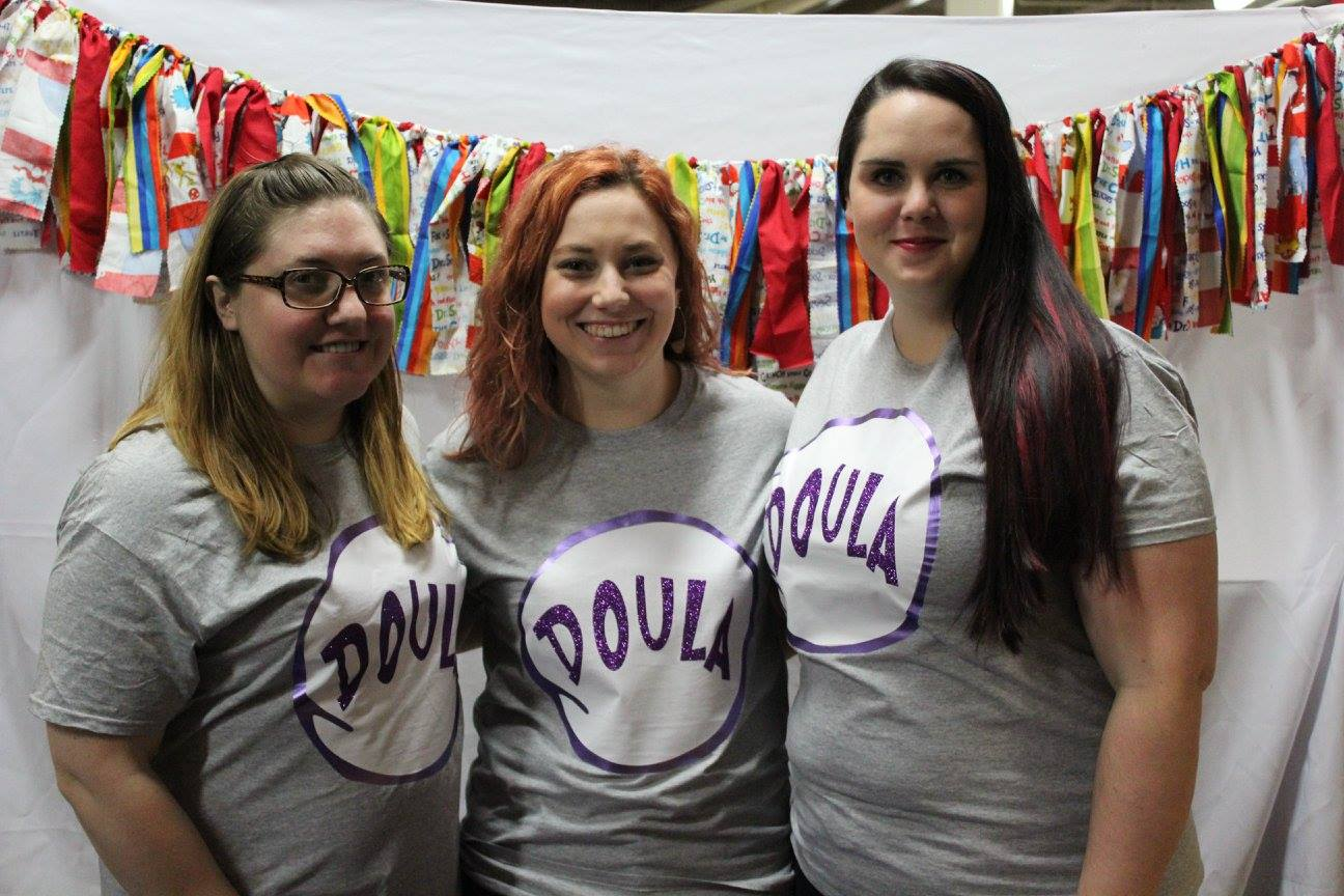Pictured left to right. Chantell Garrison of  Serenity Birthing , Rebecca Goebel of L ove is Patient , Samanth Pearl of  The Pearlescent Doula .