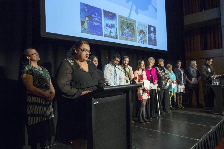 Anahera Morehu, Riki-Lee Saua and Te Kura Pounamu finalists.jpg