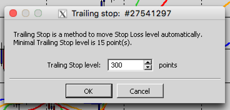 Type in your desired Trailing Stop in point's. (if you wish to place a 30pip Trailing Stop you will need to type in 300)