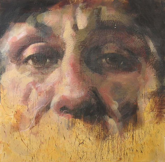 Ronnie, 2004-08 series: The Junkies encaustic on canvas 72x72 inches . . . . . . . .#tonyscherman #encausticpainting #painting #contemporarypainting #wax #pigment #drip #canvas #encaustic #expressive  #ronnie #thejunkies #man #portrait #gaze #brow #nose #cheeks #junkie #ronniewood #guitarplayer #guitar #addict #musician