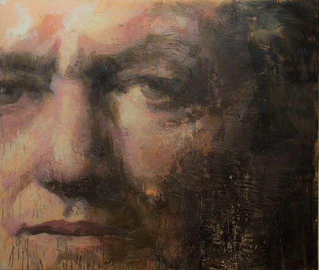 Richard Wagner, 2019 60x70 inches encaustic on canvas . . . . . . . .#tonyscherman #encausticpainting #painting #contemporarypainting #wax #pigment #drip #canvas #encaustic #expressive #wagner #richardwagner #portrait #gaze #eyecontact #2019 #encausticportraitartist #encausticportrait #ringcycle #composer #germanmusician #opera #libretto #conductor