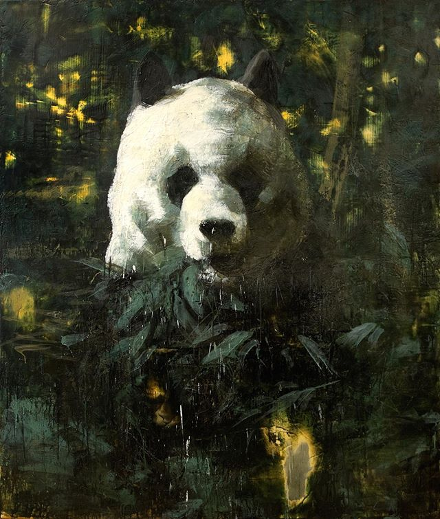 Panda, 2009-2010 series: On the Island of Circe 72x60 inches encaustic on canvas  #tonyscherman #encausticpainting #contemporarypainting #art #paint #drip #wax #pigment #wildlife #panda #bear #china