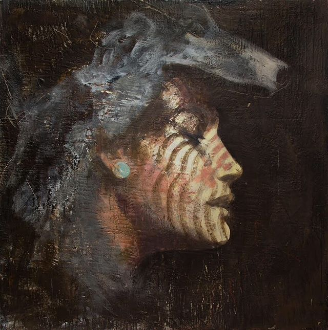 Jupiter as Diana, 2014-19 series: Pictures from Rome encaustic on canvas 72x72 inches . . . . . . . . .#tonyscherman #encausticpainting #painting #contemporarypainting #wax #pigment #drip #canvas #encaustic #expressive #portrait #jupiter #diana #goddess #jove #huntress #wildanimals #maiden #virbius #egeria