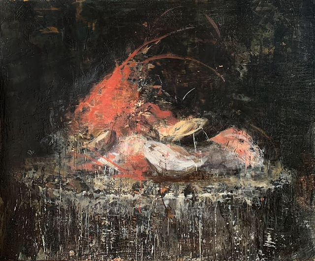 The Last Mussel, 2018-19 series: Pictures from Rome encaustic on canvas 60x72 inches . . . . . . . . .#tonyscherman #encausticpainting #painting #contemporarypainting #wax #pigment #drip #canvas #encaustic #expressive #thelastmussel #shellfish #savoury #dinner #entree #plate #lobster #picturesfromrome #lastmeal