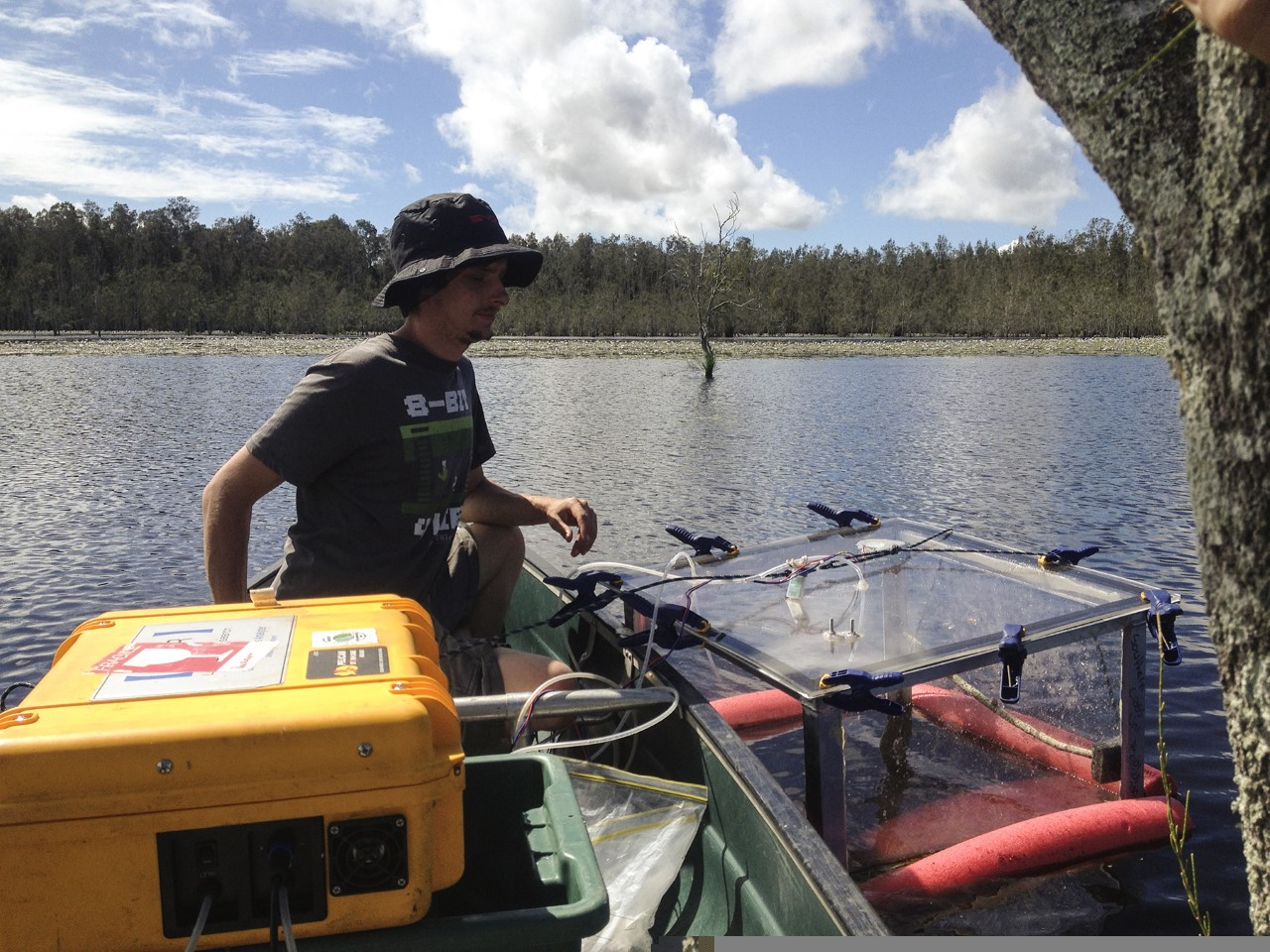 Honours student Zach Ford measuring diffusing flux rates from Cattai wetland.