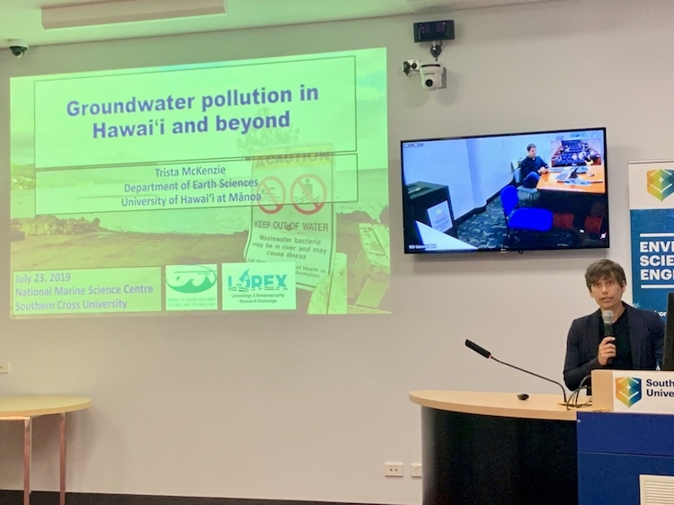Giving a presentation at the National Marine Science Centre about my research.