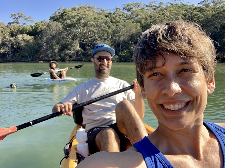 Kayaking with Isaac and his family in Coffs Creek.