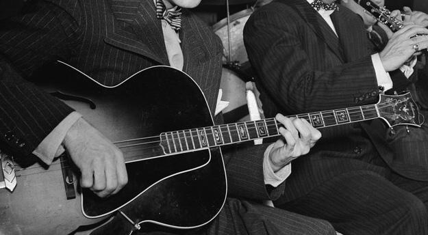 Jazz guitar closeup
