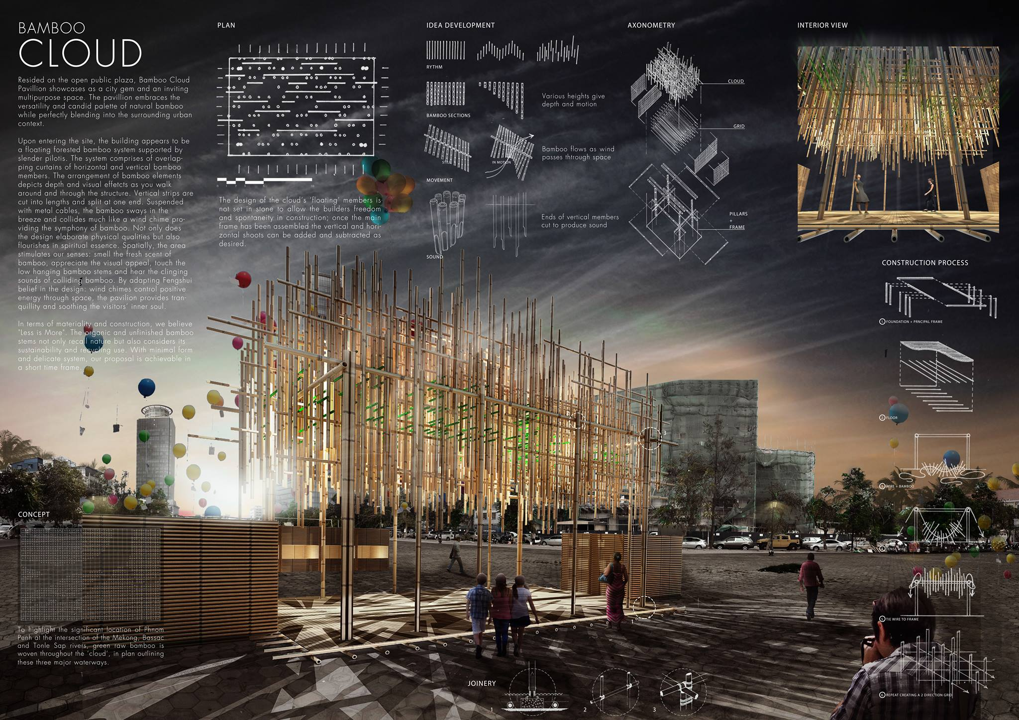 HONORABLE MENTION: 'BAMBOO CLOUD'by Juan Sebastian Larotta, Nguyen Le Thao Nguyen and Niwili White Forrest from  UNSW (University of New South Wales, Sydney, Australia)