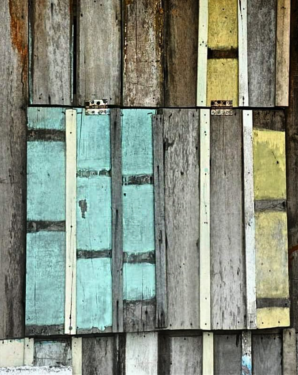 Weathered timber on a shack just metres from the sea.