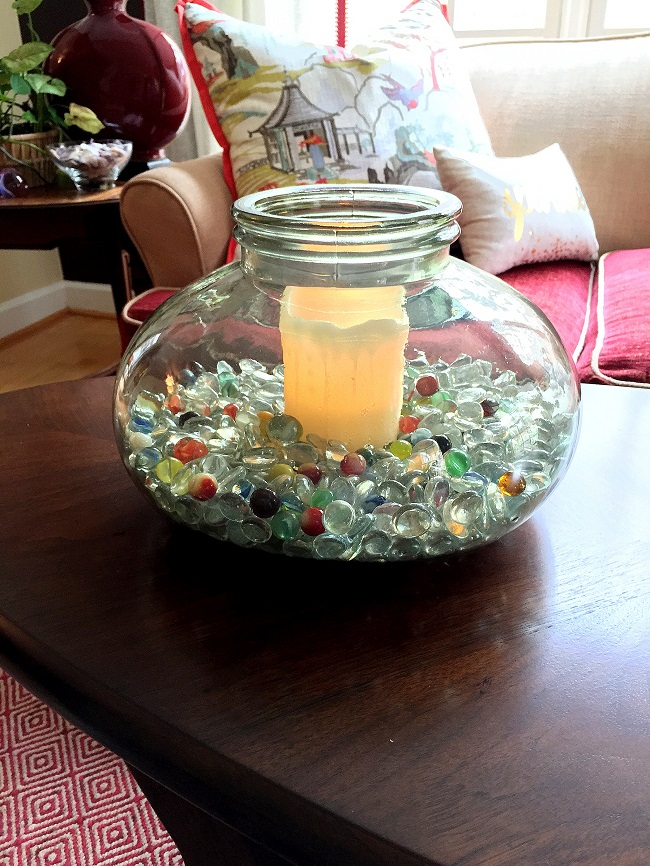 Finished glass, candle holder, updating accessories