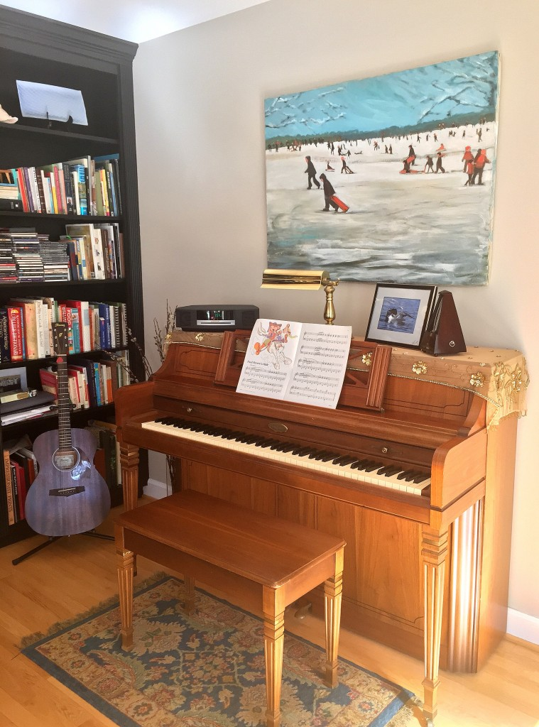 piano, library, guitar, affordable artwork, wrapped canvas, unknown artist