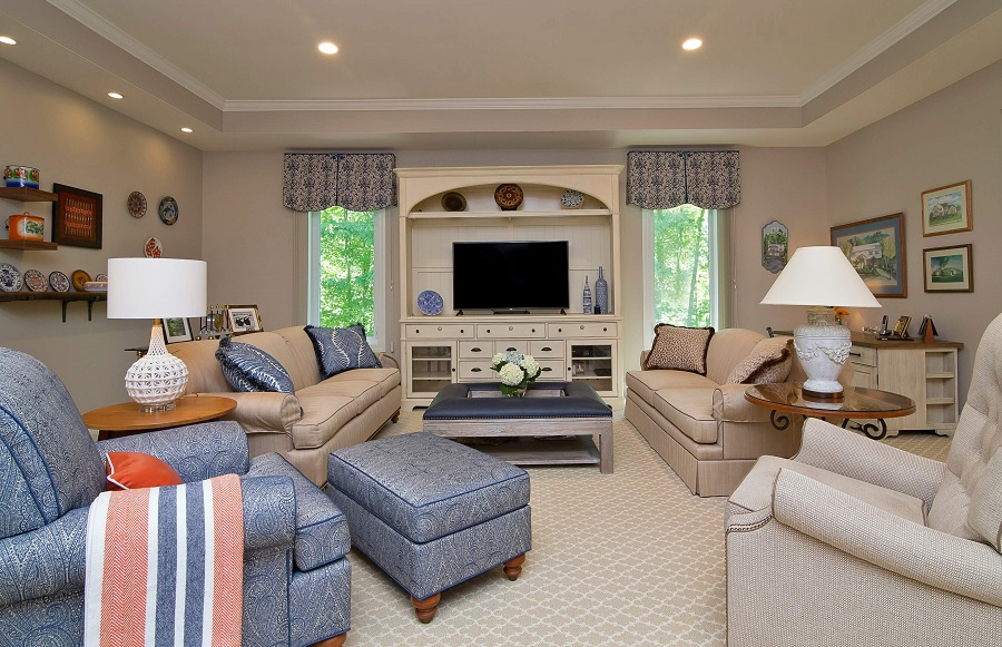 A family room update for social butterflies in Chapel Hill, NC--it's easy to entertain here, but also cozy for quiet evenings at home.