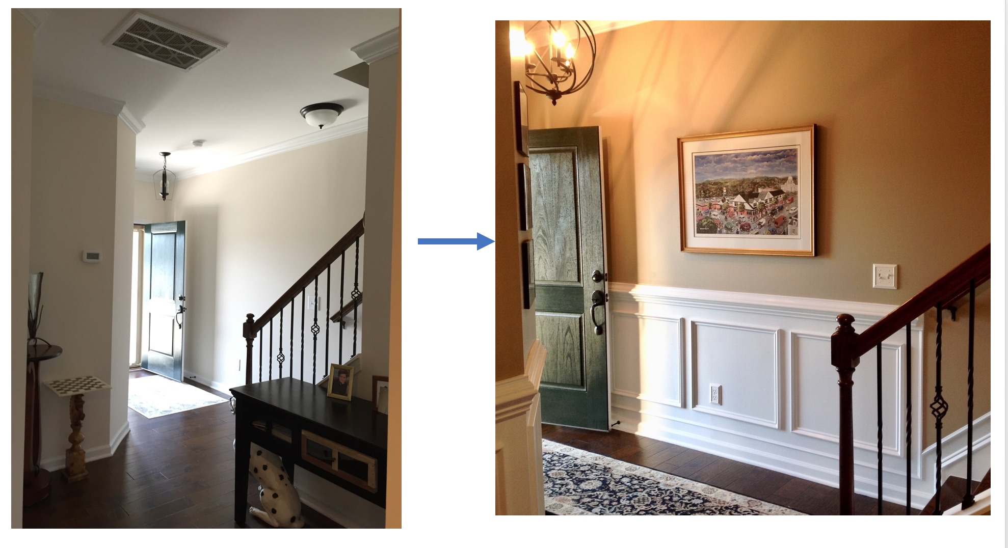 Adding trim, warming up the wall color, art, rug, lighting - all ideas from my design consultation. What a difference!