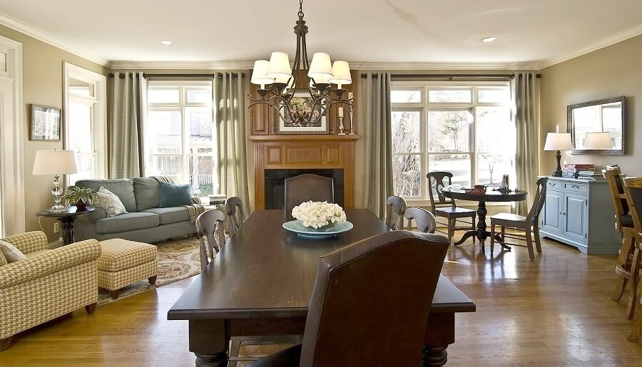 The family-friendly Gathering Room off the Kitchen is the heart of this busy Mooresville, NC home.