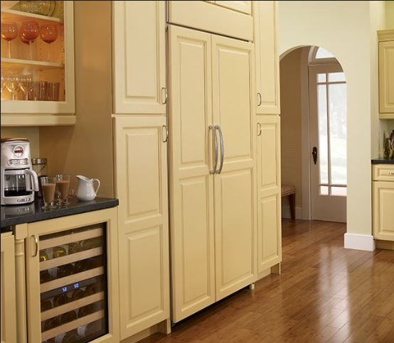 Built-In – Panel Ready Fridge – STANDARD Installation The refrigerator has matching Panel Doors. Only the door panels protrude past the cabinetry doors on either side.