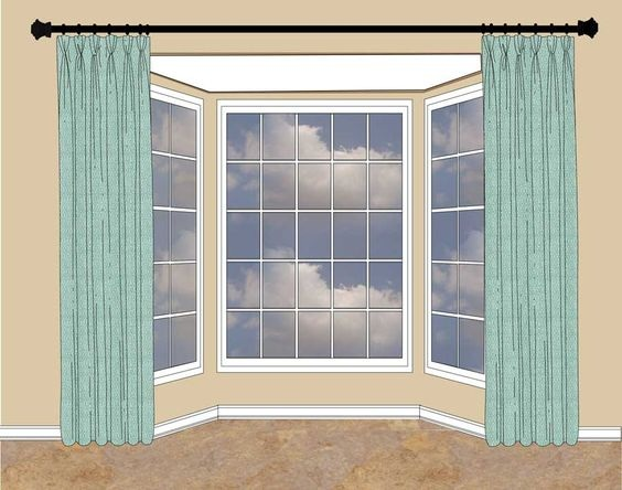 Hang your curtains up high, spanning the entire bay window!