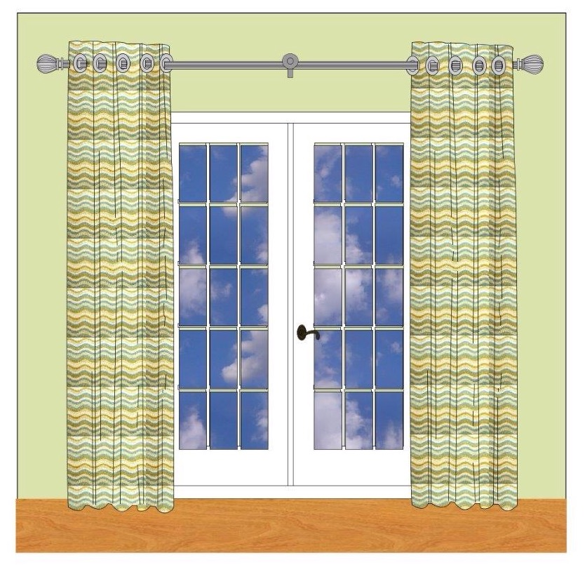 Hang the rod up high and flank those french doors with drapery panels!