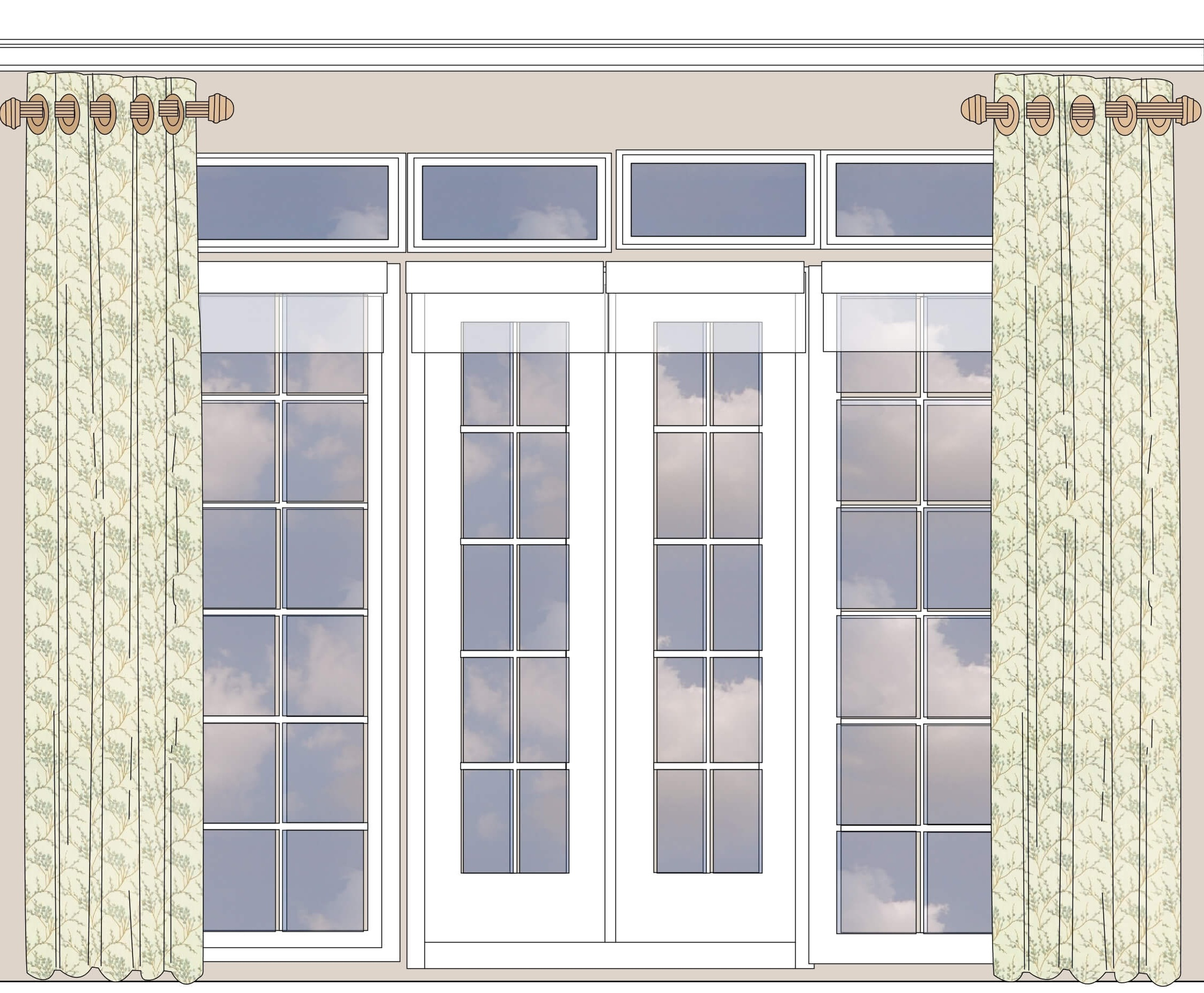 Short rods will work on a bay window or any wide window where you're not going to close the curtains.