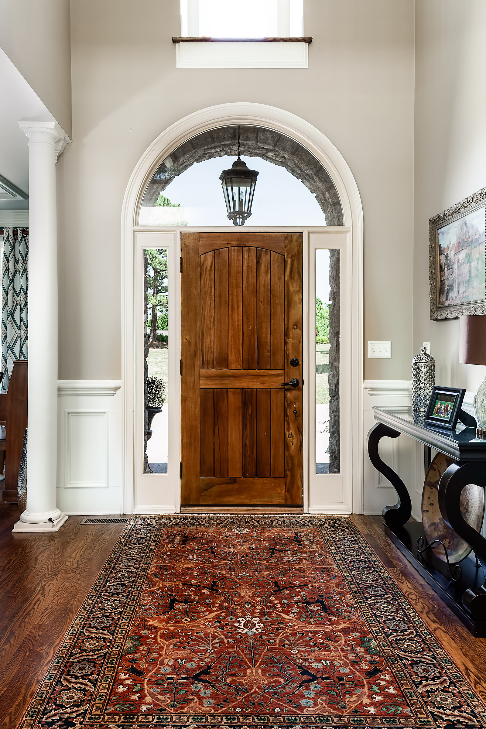 This is NOT my foyer. I did this for a delightful family a while back -  click here  to see more. That rug is perfect!
