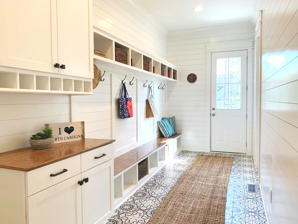 Great storage ideas include cabinets, a bench and cubbies! The Parade of Homes is a huge supply of great design ideas for your home.
