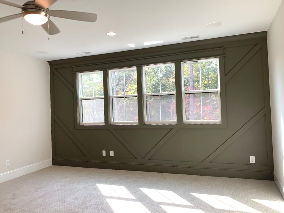 dark paint color, accent wall, bedroom, home office, wake county parade of homes