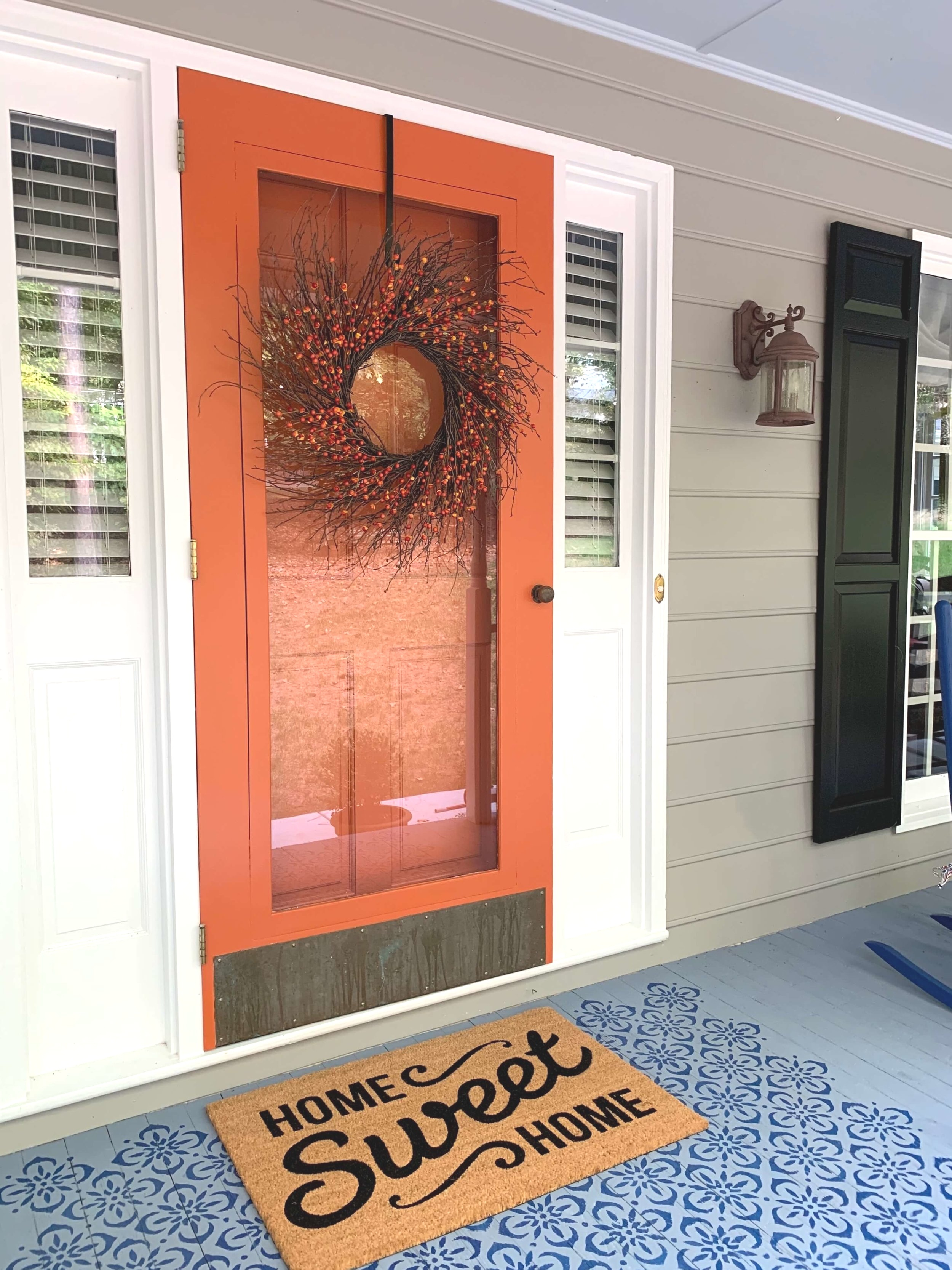 orange front door, stencil porch floor, paint colors, exterior house colors, #paintcolors
