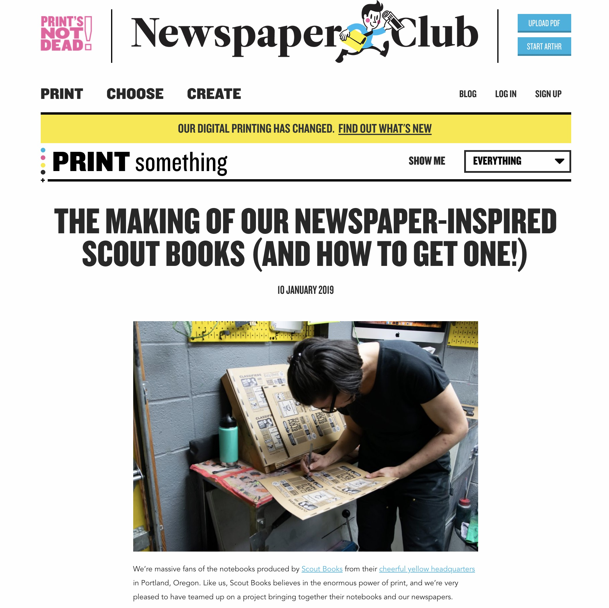 Project concept, photos, and words for a Scout Books x Newspaper Club collaboration.  Click to visit.