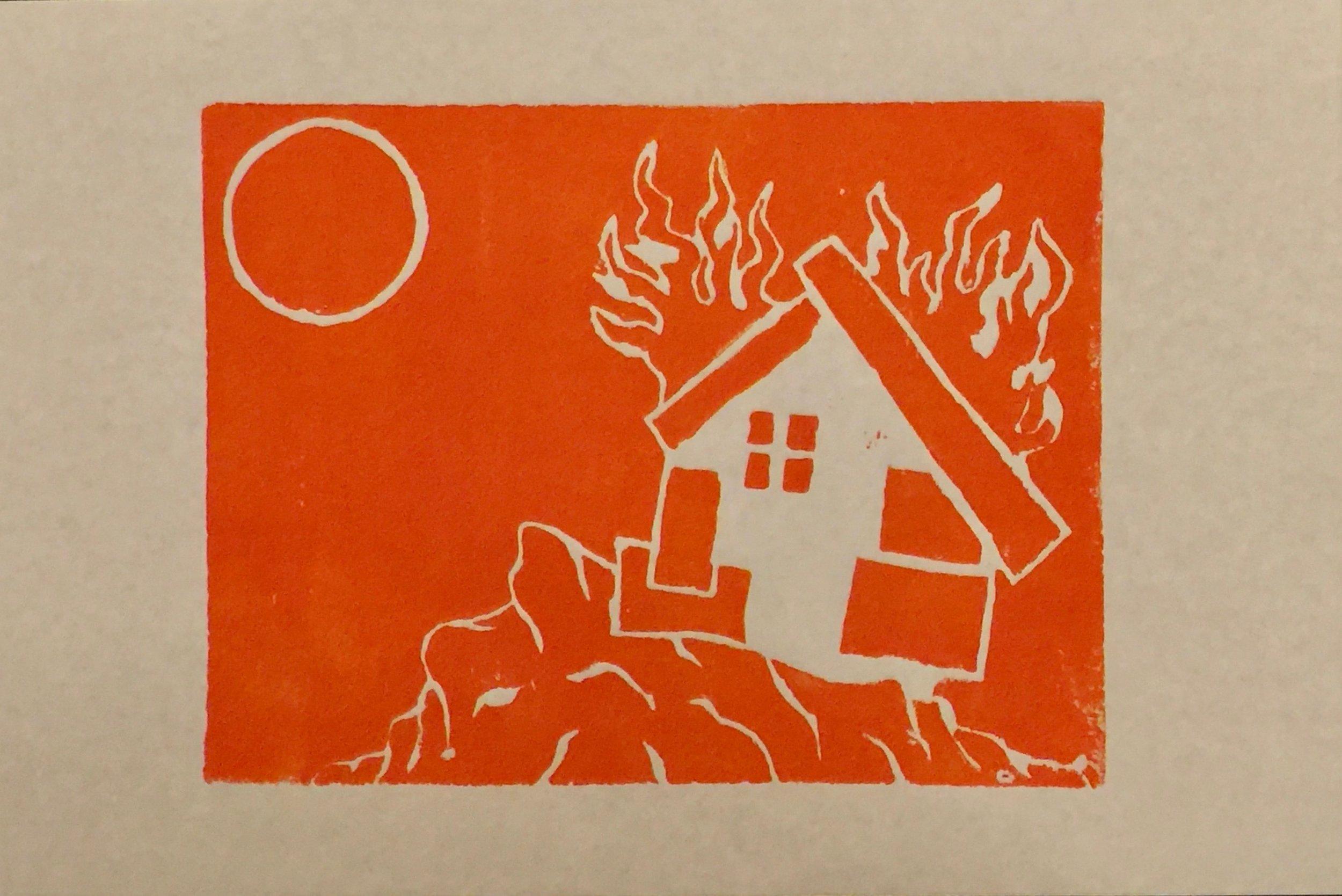 Little White House (Linocut Print)- Orange