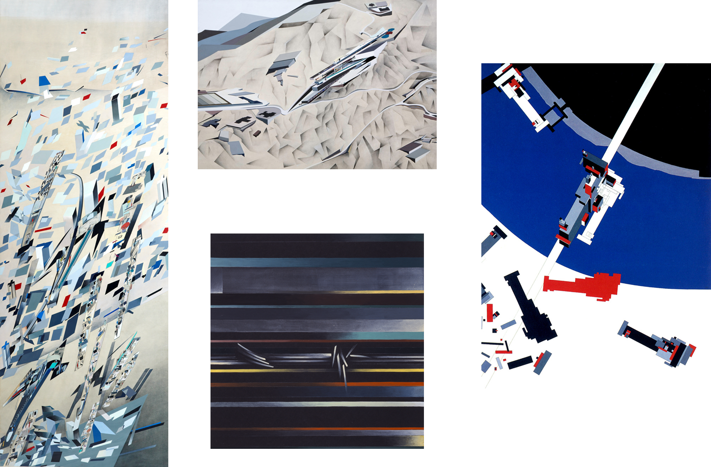 Left to Right:   Confetti 'The Peak', Hong Kong, China 1982/1983; The Peak Series, 1983; Hafenstrasse Development; Hafenstrasse Development, Hamburg, Germany, 1989; Malevich's Tektonik, 1976-7  © Zaha Hadid Foundation