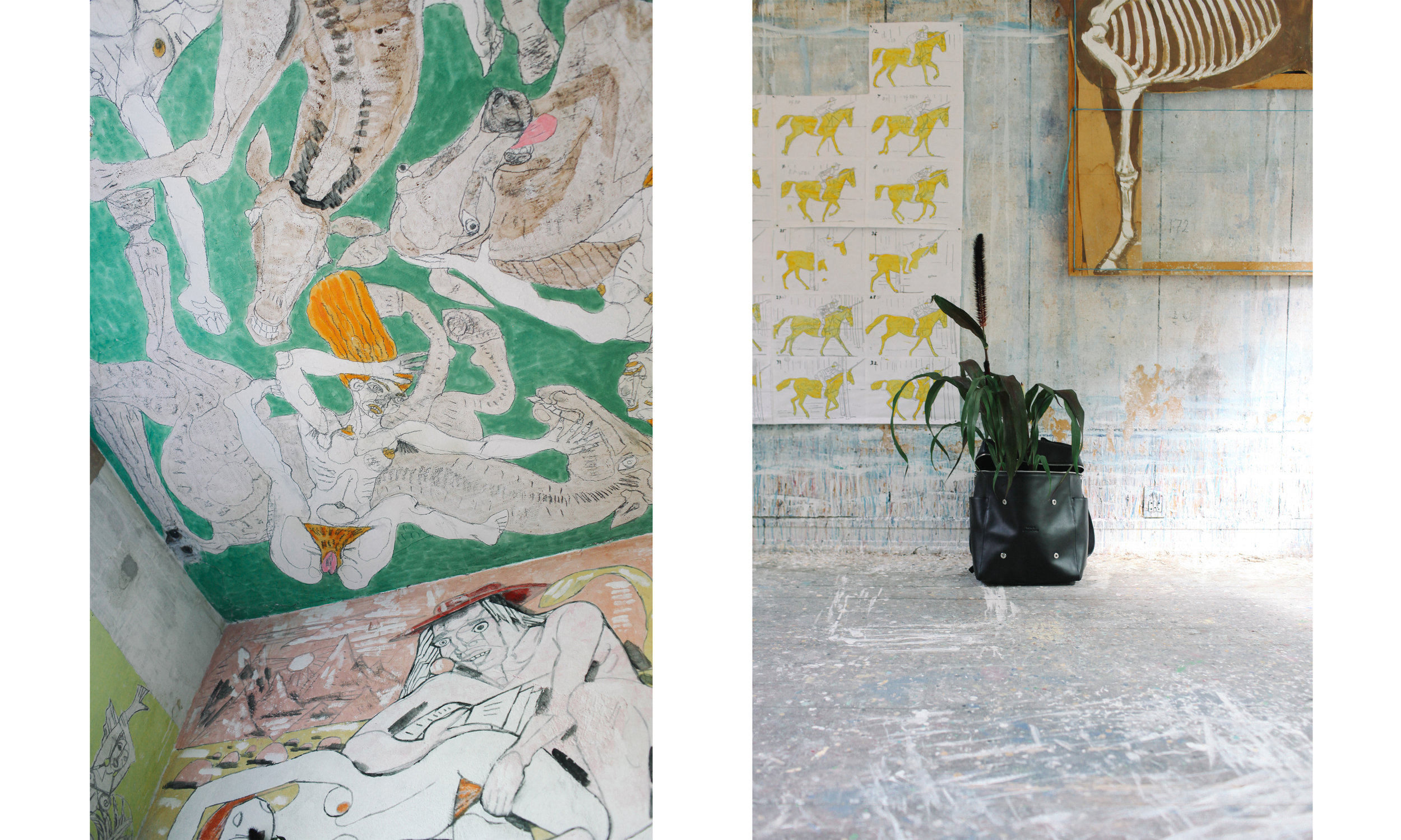 Wall painting at Richard Winther's residence and the BACKPACK 01. Photography by: Thomas Olafsson & Baixiang Chen