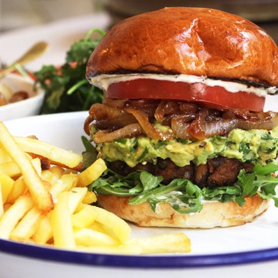 SHROOM BURGER - WITH CARAMELISED ONIONS AND HERBY GUACAMOLE