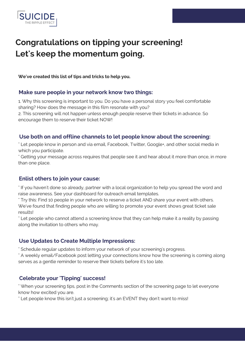 How To SELL OUT Your Screening - A Guide - Download Here
