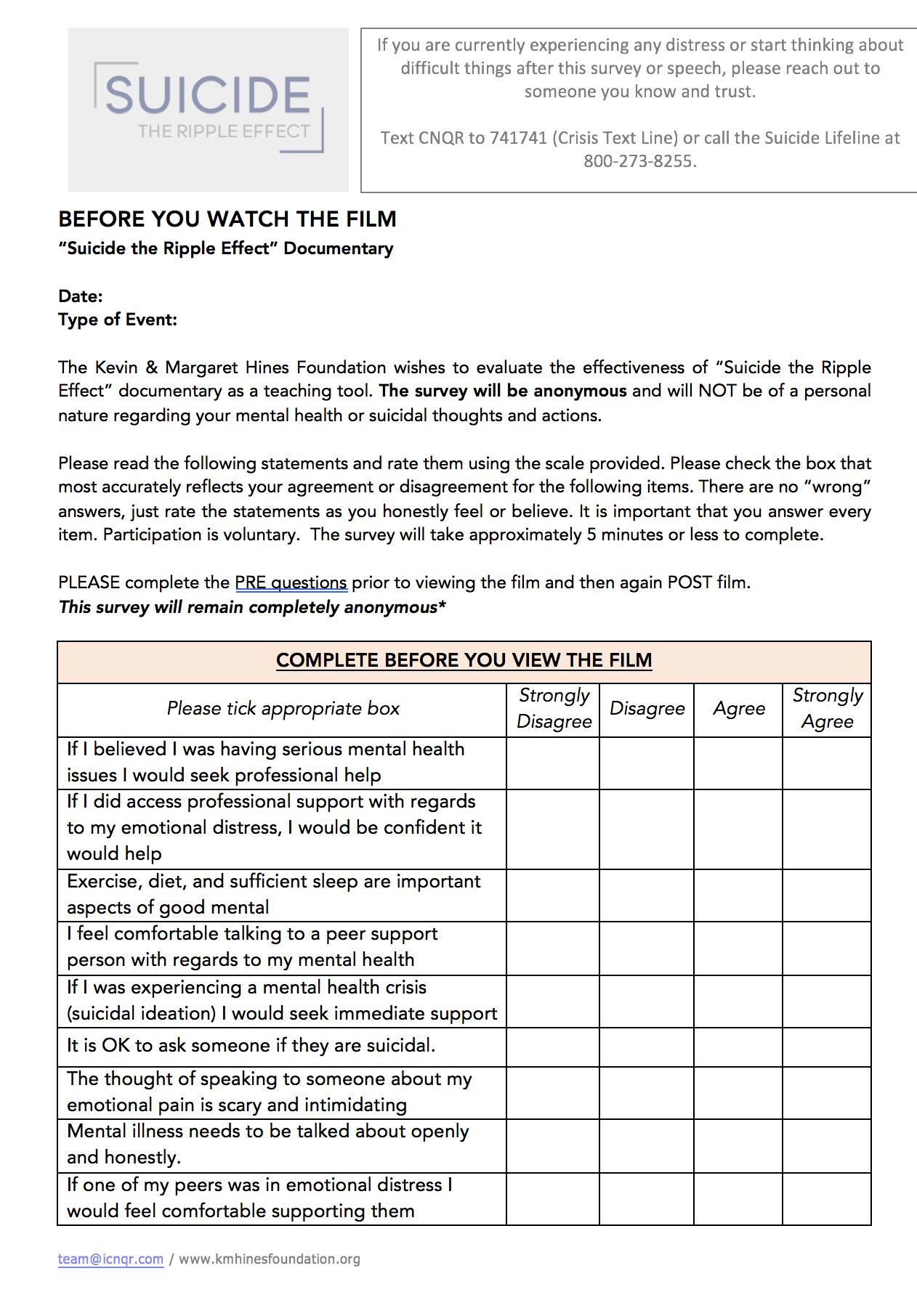 Pre & Post Surveys - Download Here