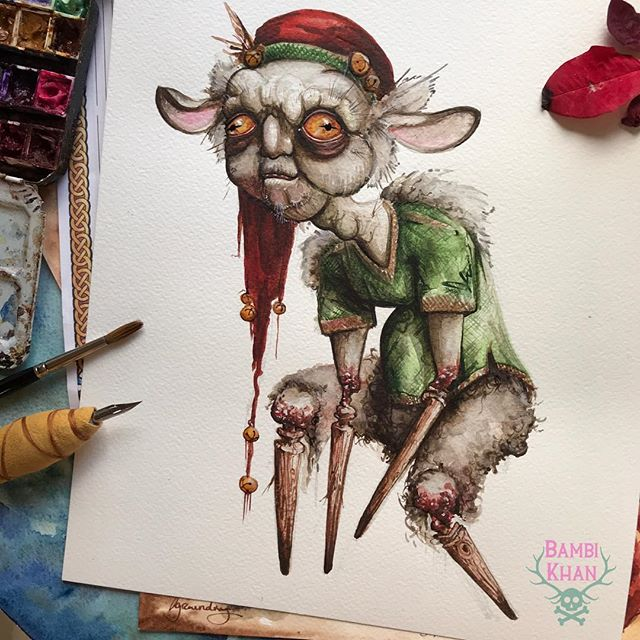 """Happy horrordays from the YULE BOYS! These Icelandic goblins each have a day and an annoyance they're particularly known for. When the 12th of December rolls around, Watch out for STEKKJARSTAUR or """"sheep-cote clod"""" who is known for harassing sheep and inexplicably has too many peg legs. . . . This creature is inspired by the super amazing sculpts by @goblinslabcreatures ! I've been LOVING using sculptors and puppet makers, so if you have a favorite ooak artist, drop them in the comments so I can check them out and maybe give them a feature! . . . What do you think the modern equivalent of a sheep-bothering peg-legged troll would be? Maybe it's not you cat knocking your cel-phone off the table... . . . #nightmarebeforechristmas #yuleboys #krampus #krampusnacht #happyhorrordays #christmasmonster #goblin #goblinart #faerieart #darkfae #unseelie #unseeliequeen #elves #elfonashelf #faeries #icelandicchristmas #nordictradition #iceland #alternativechristmas #troll #trollart #conceptart #dungeonsanddragons #monstermanual #monsterart #christmasfear #redcap #santaselves #zombieelf"""