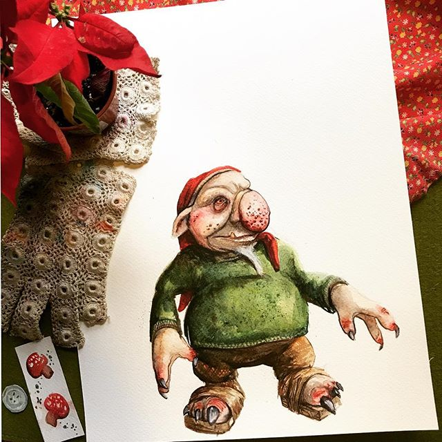 """Well the Yule lads like this one, Stúfur, or """"stubby"""" are still hanging around my house, now I've been experiencing a new and terrible condition: sleep paralysis. (It's happened twice since I started this series, and I'm still not sure I'm going to complete it this year.) If any of you have had sleep paralysis before, you'll understand how scary it really is: you can sort of tell you're dreaming but you're trapped in a real-time nightmare, you can't move, and you can't speak, and you can't wake up. fortunately I have a partner who is pretty in tune with me and wakes me up as soon as he hears an anomaly in my breathing, whereas In the dreamscape I feel like I've been screaming for HOURS thinking something is just outside, creeping around. It's a level of nightmare that leaves me feeling extremely vulnerable and exposed. As if insomnia isn't enough, now I have this delightful horror to dread at night. I'll take any and all advice on this particular subject. . . . Stúfur, the shortest of the Yule lads, who steals pans and eats your crusts(which we all know is the best part of any pie!) Is touchy about his height, so don't mention his risers if you see him. He was inspired by a much sweeter creation by the very talented @realm_mab who makes beautiful sculpts. You can still head over to @singularfortean and vote for my """"Gryla"""" as well as check out the whole gallery of kickass holiday-inspired creatures that go bump in the night. . . . Have you ever had sleep paralysis? Let's share real-life horror stories. . . . #faerie #goblin #faeries #goblins #conceptartist #icelandicfairytales #yuleboys #stúfur #krampus #icelandicmyth #norse #icomefromthelandoftheiceandsnow  #troll #dwarf #dwarftroll #dwarven #faerieartist #changeling #changelingthedreaming #goblinart #faeriemaker #ibelieveinfaeries #sleepparalysis #sleepparalysisdemon #christmasfear #happyhorrordays"""