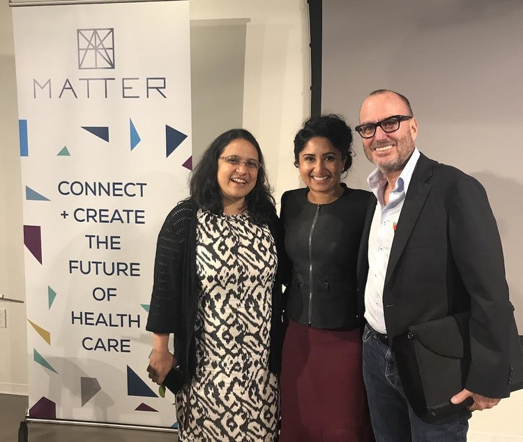 Photo caption (l to r) Dr. Sindhu Rajan (HabitNu) and Anitha Rao (Neurocern) with Danny Bernstein