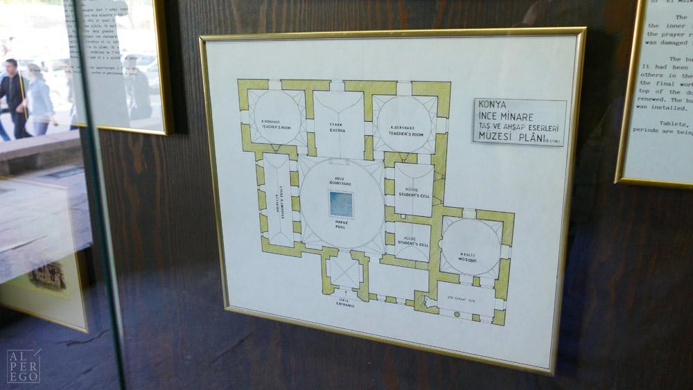 The plan of Ince Minareli Madrasa.