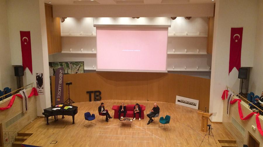 Chris Precht ,  Begum Yazgan  and  Kerem Yazgan  from Yazgan Architects at Bilkent University. The Moderator was  Tulin Cetin . 20 April 2019. / On the screen it is written 'architectural toddler' as Chris describes himself.
