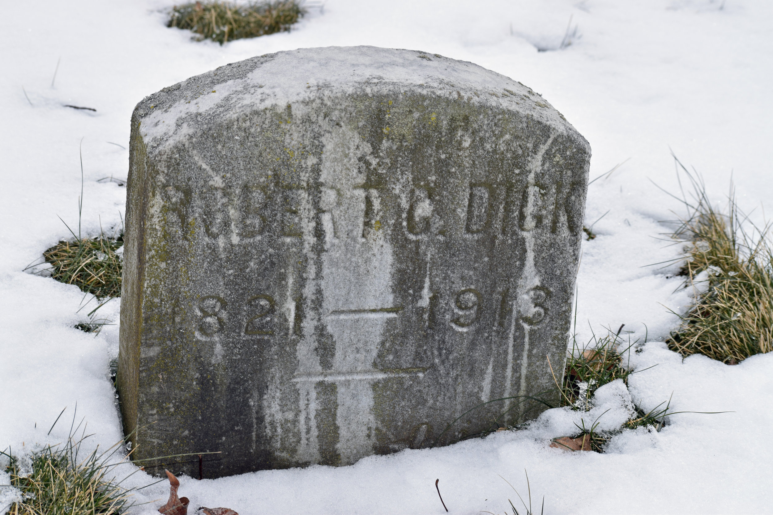 Original gravestone for Robert C. Dick (1821-1913)