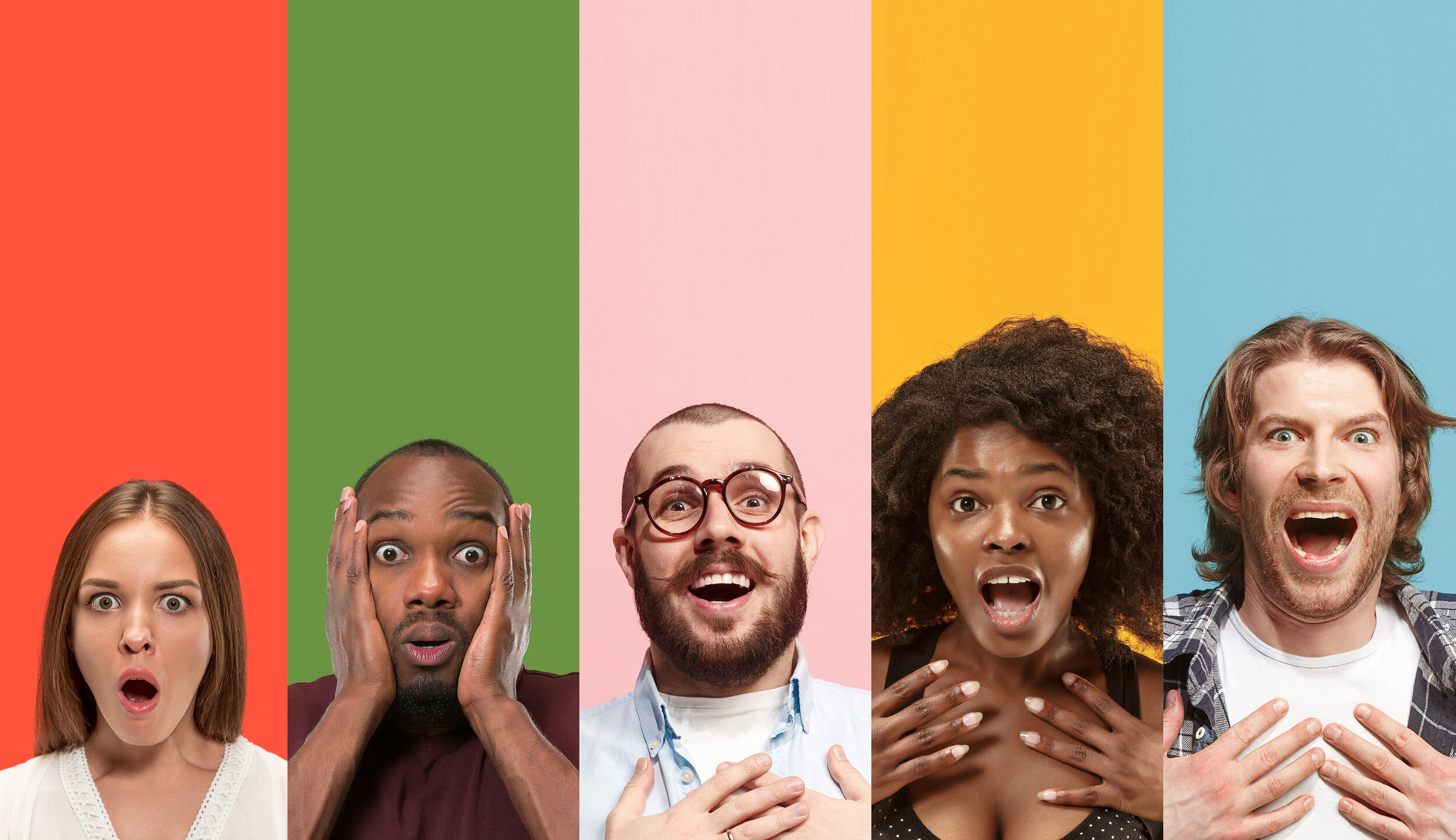 Five young people looking astonished on multicolored backgrounds.