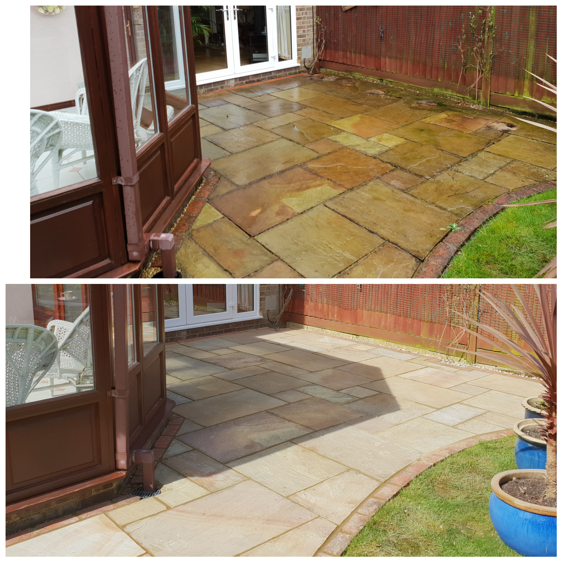 Jet washed patio and re grout